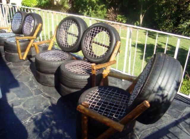 Садовая мебель из автомобильных покрышек