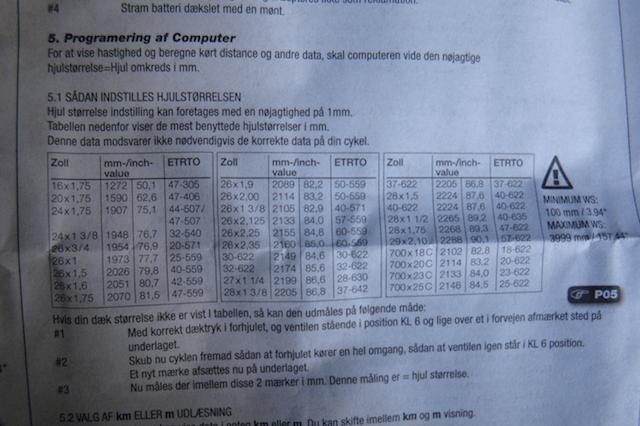 Таблица для настройки велокомпьютера