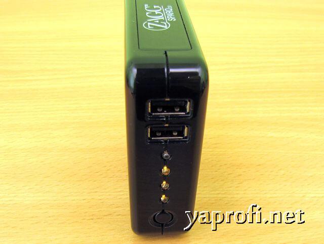 USB выходы и индикатор зарядки ZAGG Sparq 2.0