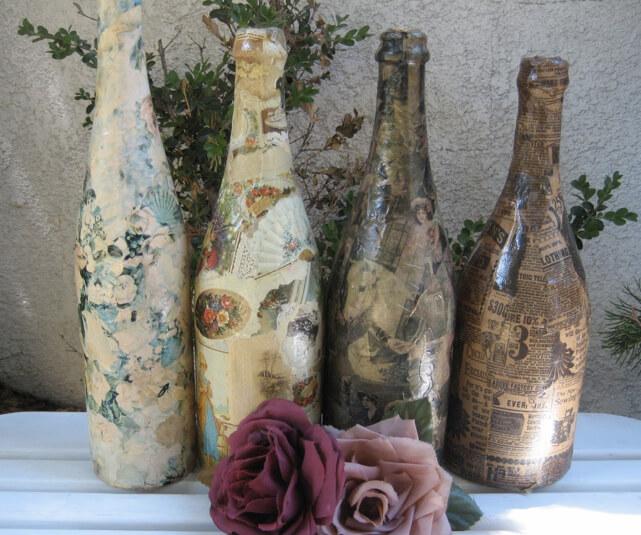 Пример декупажа бутылки