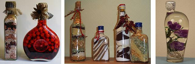 Оформление поделок из бутылок