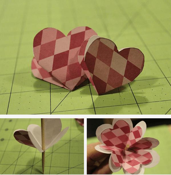 Изготавливаем лепестки в виде сердечек