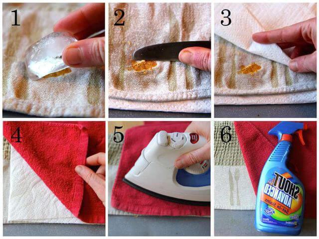 Очищаем ткань от воска