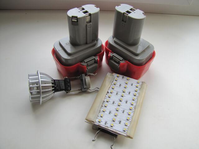 Светодиодный фонарь с аккумулятором от шуруповерта